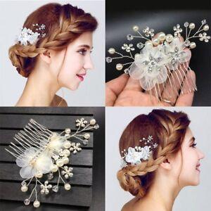 Détails Sur Mode Nuptiale Cristal Perle Cheveux Peigne Mariage Fleur Bandeau Coiffure Bijoux