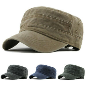 Solid Cotton Men/'s Army Cap Military Flat Cap Sun Hat Driver Cabbie Trucker Hat