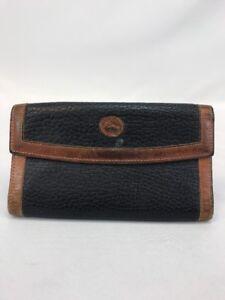 Dooney-amp-Bourke-Women-039-s-Brown-Blue-All-Weather-Leather-Checkbook-Organizer-Wallet