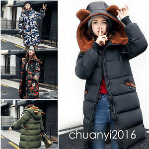 Winter-Women-039-s-Ears-Camouflage-Coat-Long-Down-Cotton-Parka-Hooded-Trench-Jacket