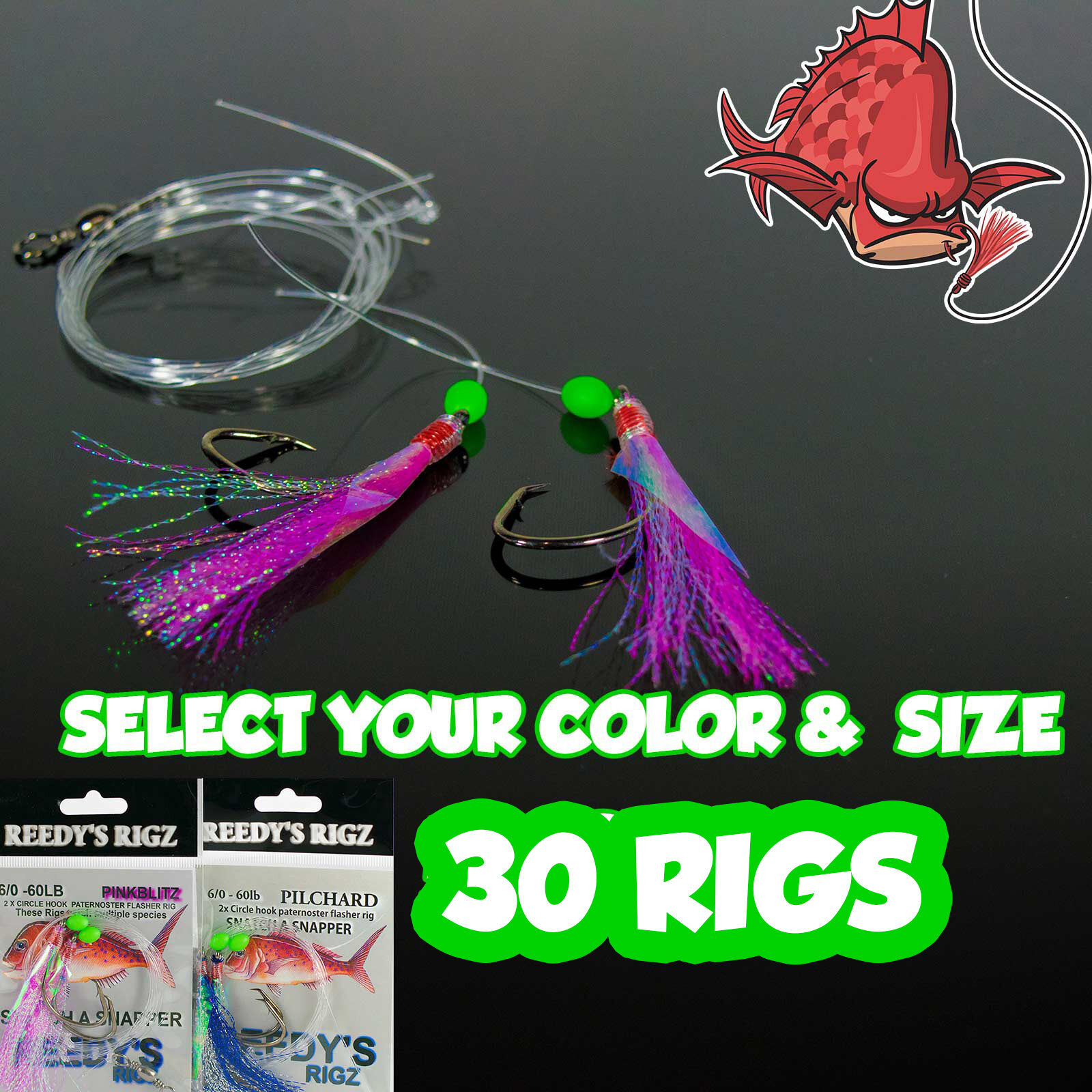 30 Snapper Rig Tied Rigs Size 5 hook Lure Flasher 60lb Hand-tied Fishing Bait