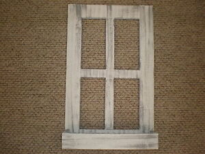 White Weathered Look Window Pane With Box  Primitive Wood