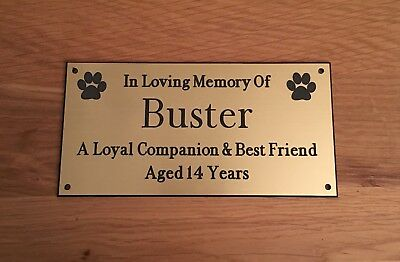 Brass Effect Pet Memorial Bench Plaque Dogs Cat Paw Prints Ebay