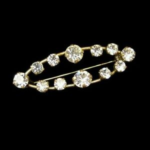 Vintage-ART-DECO-REVIVAL-Rhinestones-Brooch-Pin-Open-Oval-Prong-Set-Classy