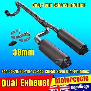 Twin-Exhaust-Pipe-38mm-CNC-Alloy-Muffler-125cc-140cc-150cc-PIT-PRO-DIRT-BIKE
