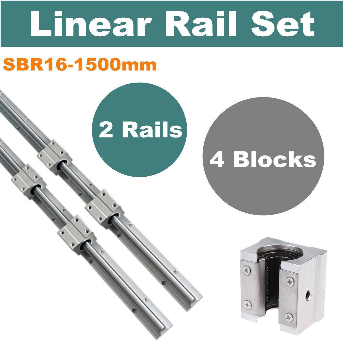 Joomen CNC SBR25-750mm LINEAR SLIDE GUIDE 2 RAIL 4 SBR25UU BEARING BLOCK