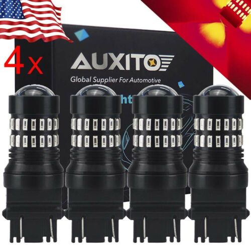 4x AUXITO 3157R SUPER RED 3057 3156 LED Stop brake Tail Light Bulb 48W Eco