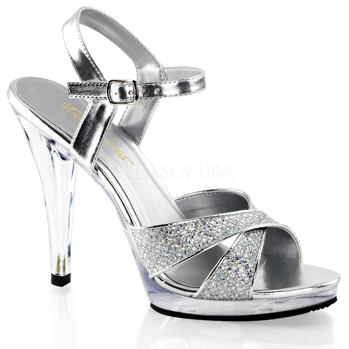 PLEASER Sexy Criss Cross Ankle Strap 4 1 2  Heels Silver Prom shoes FLA419G S C