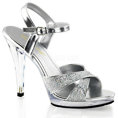 Pleaser Sexy Criss Cross Ankle Strap 4 1 2 Heels Silver Prom Shoes Fla419g S C Ebay