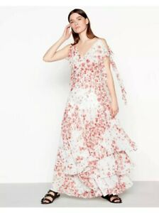 bb7a0ec10223 Studio By Preen Red Floral Print Floaty Chiffon V-Neck Maxi Dress ...
