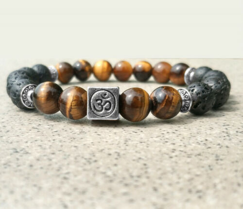 8mmTigereye Volcanic Bracelet Handmade Stretchy Reiki Monk Bead mala Lucky Bless