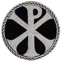 Vegasbee® Cross Chi-rho Embroidered Iron-on Patch Christogram Silver Metallic 3