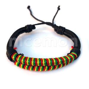 Rasta-Pulsera-de-Cuerda-Muneca-Hippie-Hawaii-Negril-Dub-Ras-Reggae-Marley