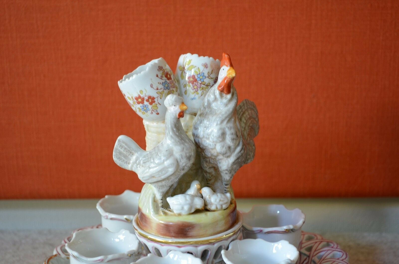 Porcellana eierbecherhalter kronenmarke 6 pezzi