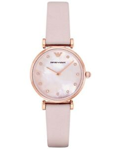 Emporio-Armani-Retro-Rose-Gold-AR1958-Pink-Mother-of-Pearl-Leather-Women-039-s-Watch