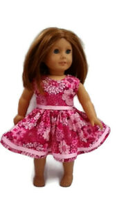 """Summer Party Dress Fits American Girl 18"""" Doll Clothes Pink Flowers Handmade"""