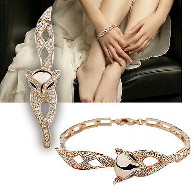 New Jewelry Gold Plating Cute Fox Cat Eye Zircon Chain Bracelet For Women Gift