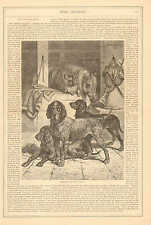 Horse Stable, Hunting Dogs, English Mastiffs, Vintage 1873 Antique Art Print
