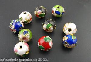 Sonderangebot-30-Mix-Mehrfarbig-Cloisonne-Perlen-Beads-Kugel-Ball-10mm