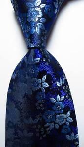 New-Classic-Floral-Blue-Purple-Black-JACQUARD-WOVEN-100-Silk-Men-039-s-Tie-Necktie