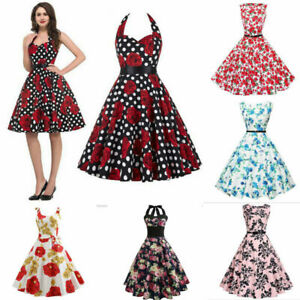 Women Vintage Style Pinup Swing Evening Party Sleeveless Rockabilly Dress Lots