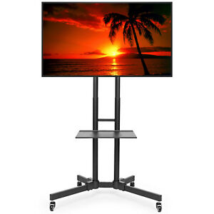 Rolling Tv Stand Cart Mount For Oled Led Flat Screen Fits 32