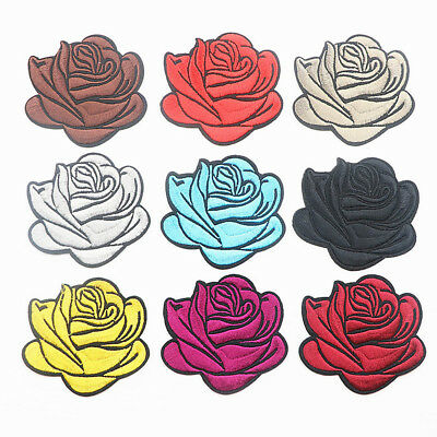 Embroidery Rose Flower Sew Iron On Patch Badge Clothes Fabric Applique QK