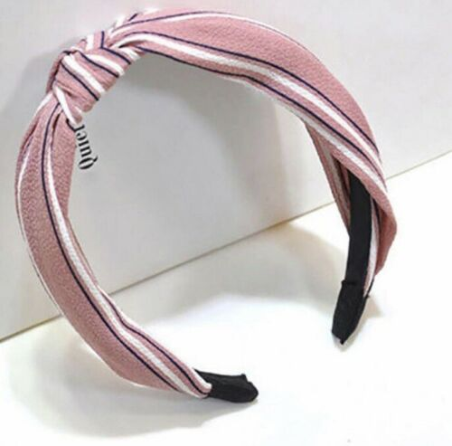 Pink Black White Stripped Hair Head Band Knotted Party Festival Boho Boutique