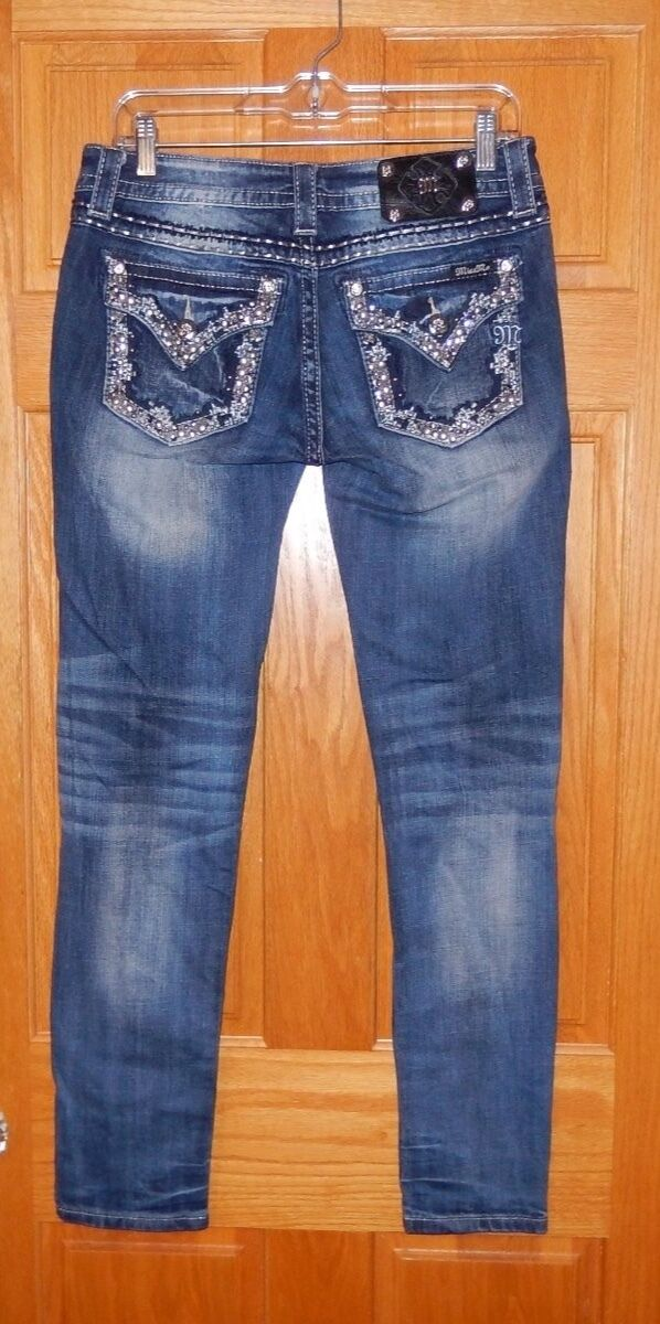 Miss Me 28 Signature Skinny JP713543 Rhinestone Studded bluee Denim Jeans Pants