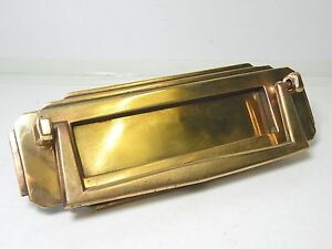 Original art deco brass letterbox with handle door knocker for 1920s door handles