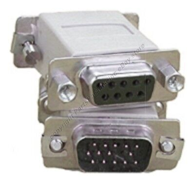 SVGA//VGA HPDB15//HD15 pin Male//M~DB9 pin Female//F Video//Monitor Adapter $SH DISC