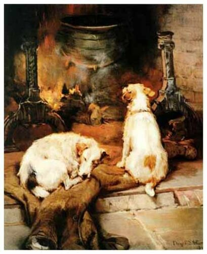 PARSON JACK RUSSELL FOX HUNT TERRIER DOG FINE ART PRINT Warming by the Hearth