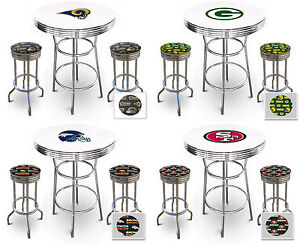 Nfl logo themed chrome metal white bar pub table set w 2 swivel seat image is loading nfl logo themed chrome metal white bar pub watchthetrailerfo