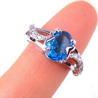 Women's Blue Crystal Fashion 925 Sterling Silver Ring Size 6-7 Jewelry H1094