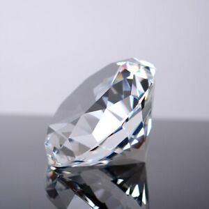 120MM Clear Crystal Cut Glass Giant Diamond Paperweight Jewel Wedding Decor Gift