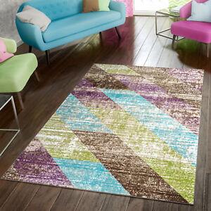 Teppich Modern Preiswert Wohnzimmer Teppiche Gestreift Style Grün
