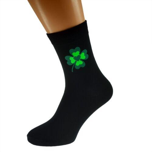 Lucky 4 leaf clover centre cardiaque homme chaussettes noires uk adulte 5-12 X6N438