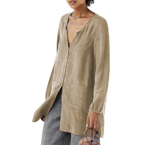Damen Leinen Hemdbluse Longbluse Langarm Lose Top Longshirt Oberteil Übergröße