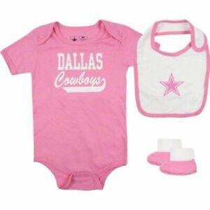 cb822cdb2f9 24M Baby Girl Infant Dallas Cowboys PINK One pc Creeper Outfit Bib ...