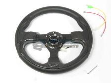 NRG 320mm Sport Leather Steering Wheel Black w/ Carbon Fiber Inserts & 3 Spoke