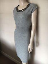 Sutton Cashmere,100% Cashmere,Thin Knit, Grey Dress,S, size UK 10/12
