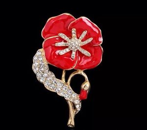 Large red diamante poppy flower brooch crystal enamel remembrance image is loading large red diamante poppy flower brooch crystal enamel mightylinksfo