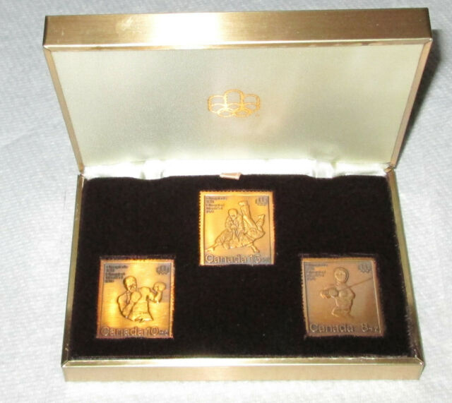 Canadian 1976 Olympics;1975 bronze plate stamps + presentation box + mint sheets