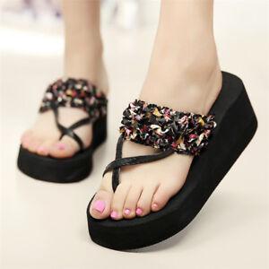 1a7ced5a7c3 Women s Bohemia Wedge Sandals Slippers High Heel Flip Flops Platform ...