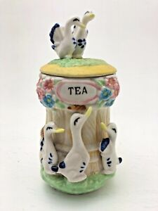 Vintage-Birds-and-Flowers-Pottery-Tea-Holder-Pot-Tub-Container-Doves-Swans-Ducks