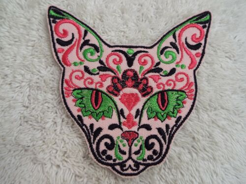 """E23 Pink Green Tapestry CAT 4-1//2/"""" Embroidery Iron-on Custom Patch"""