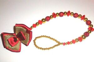 Red Gold Shamballa Bow Crystal Bling Baby Romany dummy pacifier clip chain