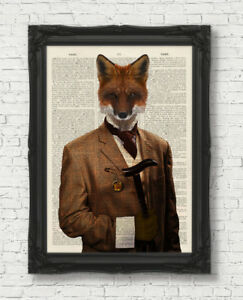 VINTAGE-DICTIONARY-BOOK-PAGE-ART-PRINT-FOX-IN-CLOTHES-WALL-ART-ANIMAL-GENTLEMAN