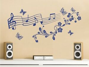 Adesivo da parete decalcomania muro decal note musicali music