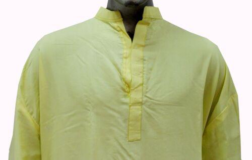Indian 100/% Cotton Men Shirt Tunic loose fit Plain Yellow Solid Plus Size Kurta